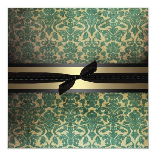 Invitación del día de fiesta del damasco invitación 13,3 cm x 13,3cm