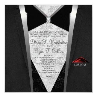 Invitación del diamante del lazo negro
