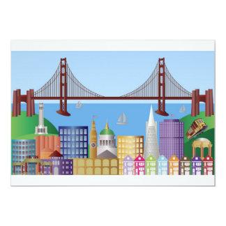 Invitación del dibujo del horizonte de la ciudad invitación 12,7 x 17,8 cm