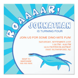 Invitación del dinosaurio del Dino-Ácaro - azul