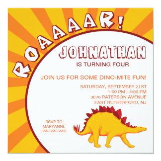 Invitación del dinosaurio del Dino-Ácaro - naranja