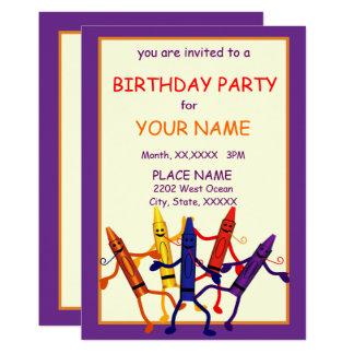 Invitación del diseño del creyón de la fiesta de