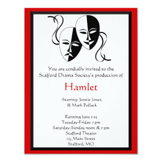 Invitación del drama y del teatro invitación 10,8 x 13,9 cm