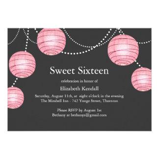 Invitación del dulce 16 de la linterna del fiesta