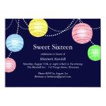 Invitación del dulce 16 de la linterna del fiesta invitación 12,7 x 17,8 cm