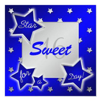 Invitación del dulce 16 de las estrellas del azul