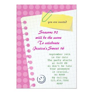 Invitación del dulce 16 del cuaderno