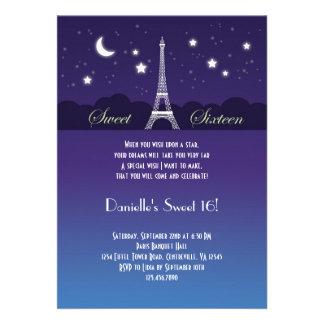 Invitación del dulce dieciséis de la torre Eiffel