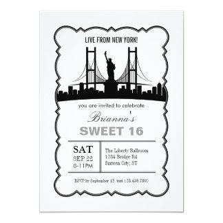 Invitación del dulce dieciséis de Nueva York Invitación 12,7 X 17,8 Cm
