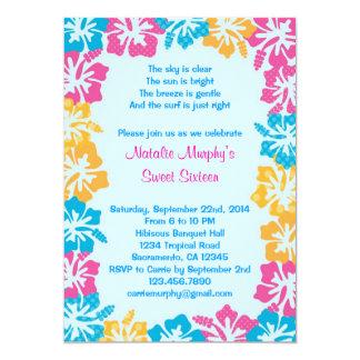 Invitación del dulce dieciséis del hibisco de Luau Invitación 12,7 X 17,8 Cm