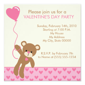 Invitación del el día de San Valentín del oso y de