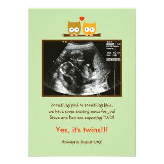 Invitación del embarazo de la foto de los búhos
