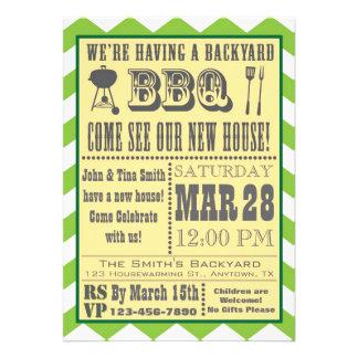 Invitación del estreno de una casa de la barbacoa