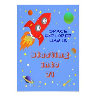 Invitación del explorador de espacio 5x7 invitación 12,7 x 17,8 cm