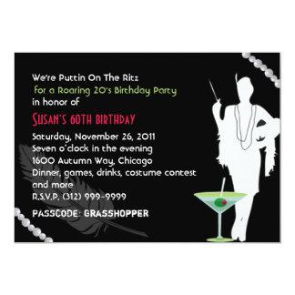 Invitación del fiesta 20s del rugido invitación 12,7 x 17,8 cm