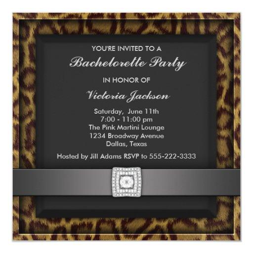 Invitación del fiesta de Bachelorette del leopardo