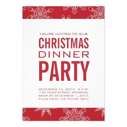Invitación del fiesta de cena de navidad rojo y bl