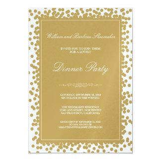 Invitación del fiesta de cena del confeti del oro
