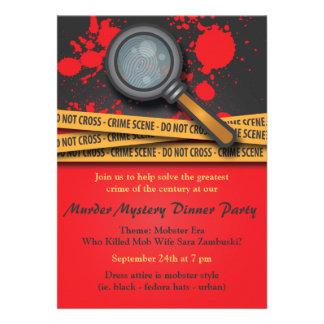 Invitación del fiesta de cena del misterioso asesi
