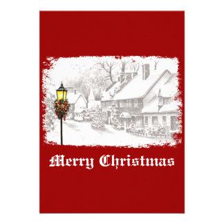 Invitación del fiesta de ChristmasTown del vintage