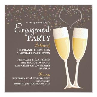 Invitación del fiesta de compromiso de Champán y
