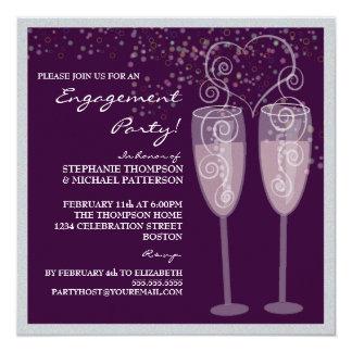 Invitación del fiesta de compromiso de Champán y Invitación 13,3 Cm X 13,3cm