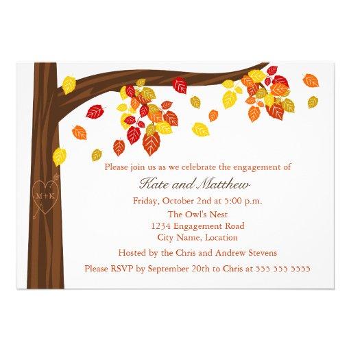 Invitación del fiesta de compromiso de las hojas d