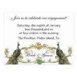 Invitación del fiesta de compromiso del pavo real  postales