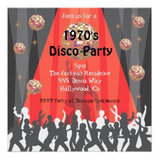 invitación del fiesta de disco de los años 70