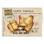 Invitación del fiesta de gallina tarjeta pequeña
