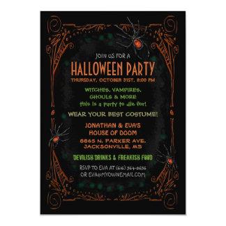 Invitación del fiesta de Halloween - arañas