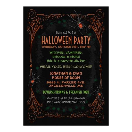 Invitación del fiesta de Halloween - arañas anaran
