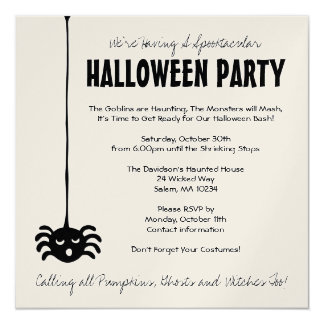 Invitación del fiesta de Halloween de la araña -