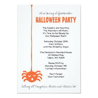 Invitación del fiesta de Halloween de la araña con