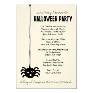 Invitación del fiesta de Halloween de la araña en