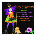 Invitación del fiesta de Halloween de la bruja y