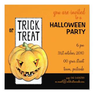 Invitación del fiesta de Halloween de la calabaza Invitación 13,3 Cm X 13,3cm