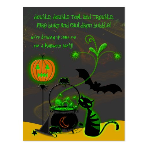 Invitación del fiesta de Halloween de la caldera Postal
