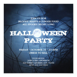 Invitación del fiesta de Halloween de la Luna
