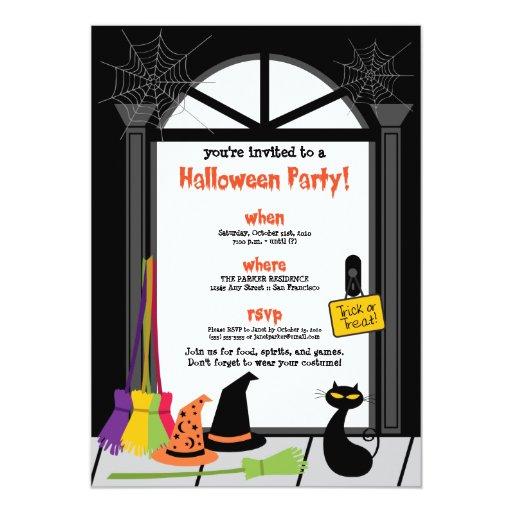 Invitación del fiesta de Halloween de la puerta de