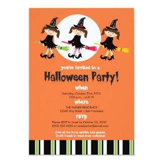 Invitación del fiesta de Halloween de tres brujas