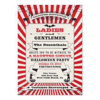 Invitación del fiesta de Halloween del circo de