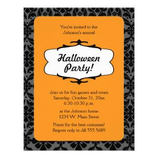 Invitación del fiesta de Halloween del damasco