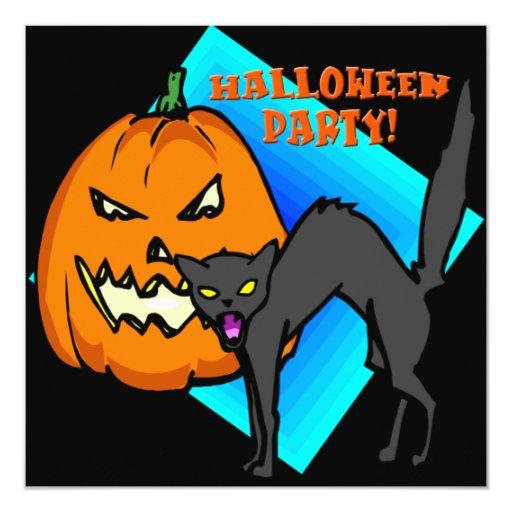 Invitación del fiesta de Halloween del gato negro Invitación 13,3 Cm X 13,3cm