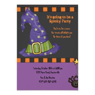 Invitación del fiesta de Halloween del gorra de la