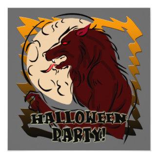 Invitación del fiesta de Halloween del hombre lobo