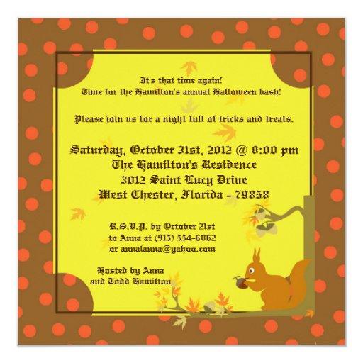 invitación del fiesta de Halloween del otoño 5x5 Invitación 13,3 Cm X 13,3cm