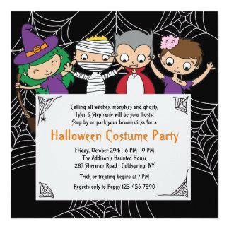 Invitación del fiesta de Halloween del traje de