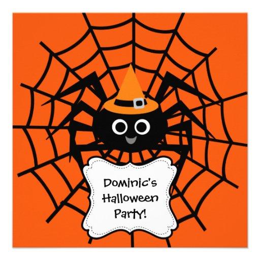 Invitación del fiesta de Halloween del Web de arañ