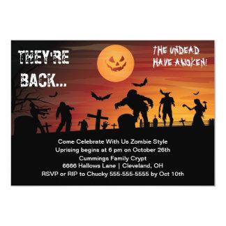 Invitación del fiesta de Halloween del zombi del